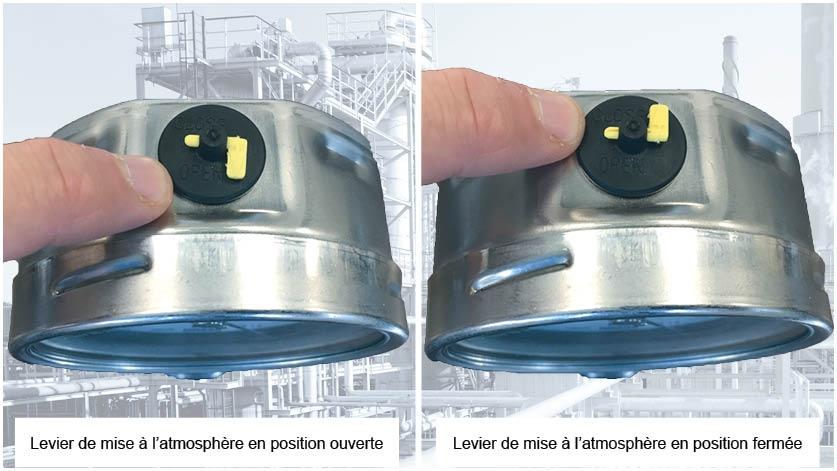 manomètre avec levier de mise à l'atmosphère
