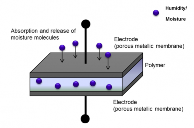 Le capteur polymère capacitif pour mesurer l'humidité dans les gaz